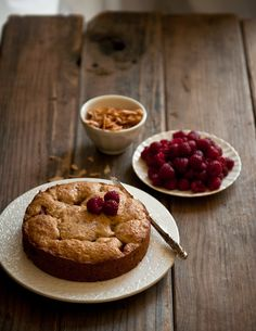 Rhubarb Polenta Cake with Sugared Coconut Raspberries - now I just have to get me some rhubarb plants!!