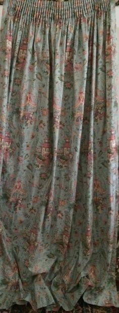 3 Vintage Panels Richard Mulligan Chinoiserie Fabric Drapes Curtains