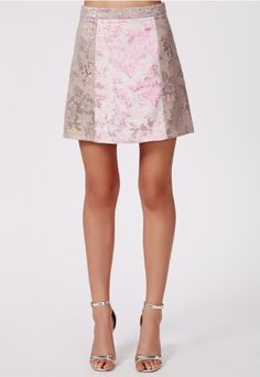 Jarvine Contrast Rose Brocade A-Line Skirt by Missguided Worn by Chanel Oberlin - Episode 4