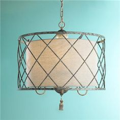"""Metal Lattice Drum with Linen Shade Pendant Light - Too big but so pretty! """"Shades of Light"""" great site for lighting"""