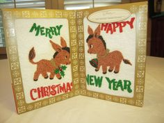 Vintage Christmas & New Years Towel Set Eames Era Donkeys MIB-Have to find these for Bella next year