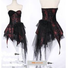 BLACK AND RED WEDDING GOWNS | Red Black Strapless Short Emo Goth Burlesque Wedding Cocktail Dresses ...