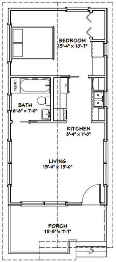 20x30 single story floor plan. One bedroom small house plan. Move ...