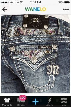Miss me jeans.  I've never seen ones like this with such pretty, colorful pockets!