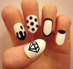 NAIL ART MONOCHROME NAILS BLACK AND WHITE DIAMOND NAILS DRIP NAILS OUTLINE NAILS POLKA DOT NAILS HALF MOON NAILS