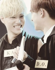 Kai & D.O. haha that smile of Kai's, whenever something funny is shared. You know it's genuinely funny to him & you wish you could share in that same feeling