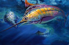"""Blue Marlin and Baitball Sport Fishing Painting, """"Eye On The Ball"""", by Game Fish Artist Savlen. Published in Marlin Magazine."""