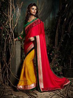 Red Chiffon Exclusive Designer Saree