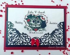 Dia de los Muertos Sugar Skull Wedding Invitations or Save the