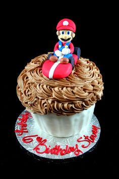 Mario Kart giant cupcake - Cakes by Erin.  Nut Free bakery in Haverhill, MA