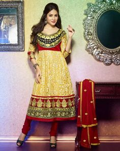 Brasso Anarkali Suit with net brasso sleeve and border 1,895.00rs Surat Dream-Only one shop for women!!! Visit us at http://suratdream.com/ Call us 7760657542