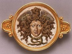 Micomosaic brooch with Medusa designed (?) and manufacured by Castellani and Sons, Rome. Gold and glass tesserae.