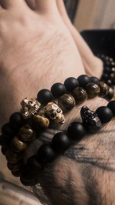 men s accessories h m Gemstone Bracelets, Handmade Bracelets, Cool Mens Bracelets, Fitness Bracelet, Skull Bracelet, Trendy Accessories, Men Necklace, Luxury Jewelry, Beaded Jewelry