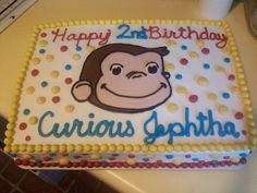 Curious George sheet cake