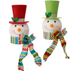 RAZ Snowman Head Christmas Tree Topper Tinsel Tangle and Merry and Bright Collections