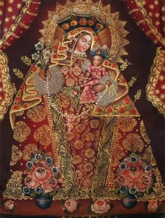 This impressive oil painting depicts the Red Madonna with the divine Child Jesus. An exquisite portrait, details are richly embellished with bronze leaf, an indicative of the artists of the Cusco School of Painting. Unique oil, it was painted with meticulous detail.Look at the exquisite facial features and the color composition, it is just simply amazing . This remarkable painting has some subtle high-relief details. Bronze Leaf was used to accentuate finishing touches on this magnificent