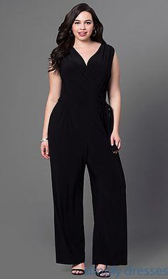 a6ee7ee0a83 Sleeveless V-Neck Black Jumpsuit. Shop Simply Dresses for plus size formal  ...