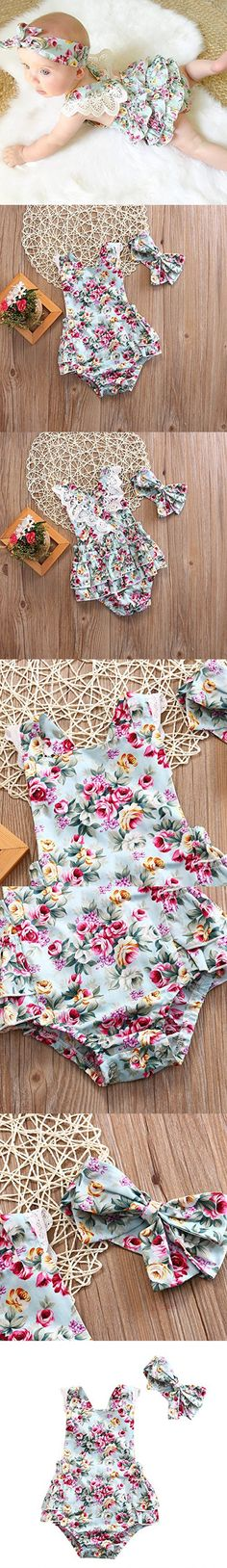 Baby Infant Girls Rompers Lace Dress Backless Floral Jumpsuit with Headband Floral) Backless Dresses Baby Girl Fashion, Kids Fashion, Everything Baby, Infant Girls, Girls Rompers, Cute Baby Clothes, Baby Sewing, Floral Jumpsuit, Kind Mode