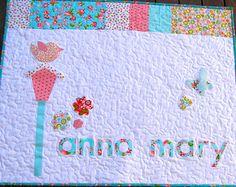 Baby girl quilt pattern, PDF, appliqué quilt pattern, birdhouse quilt pattern, nursery decor pattern, easy quilt pattern, beginner quilt