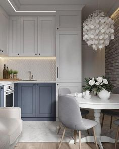 Grey kitchen ideas brings an excellent breakthrough idea in designing our kitchen. Grey kitchen color will make our kitchen look expensive and luxury. Grey Kitchen Designs, Interior Design Kitchen, Grey Interior Design, Modern Interior, Grey Kitchens, Home Kitchens, Kitchen Grey, Appartement Design Studio, Two Tone Kitchen Cabinets