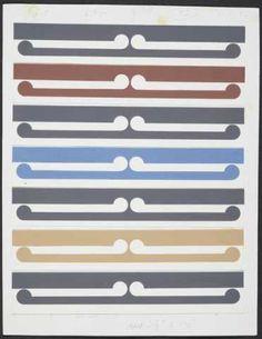 Gordon Walters, Half-size colour study for Kura, 1982, acrylic on paper on card
