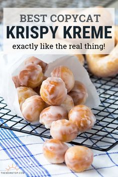The BEST Krispy Kreme Copycat Recipe! You'll love these original glazed donuts. This detailed recipe will teach you how to make perfect Krispy Kreme doughnuts at home. The chewy texture is spot on! Learn how to make these donuts on The Worktop. Krispy Kreme Copycat Recipe, Krispy Kreme Glaze Recipe, Krispy Cream Donuts Recipe, Krispy Kreme Donut Hole Recipe, Donut Recipe From Scratch, Best Donut Recipe, Glazed Donut Hole Recipe, Krispy Kreme Doughnut, Gastronomia