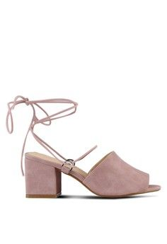 Wanita > Sepatu > Heels > Strappy Heels|Mid-Low Heels > Paddington Lace Up Block Heeled Mules > Public Desire