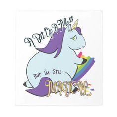 #Chubby Unicorn Eating a Rainbow - A Magical Mess Notepad - #funny #unicorn #unicorns #horse #horses #magical #colourful #fantasy