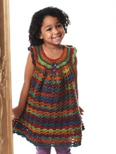 Free Pattern - Fun #crochet girl's tunic that shows off the beautiful color changes of Bernat Mosaic!