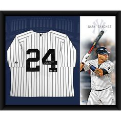 711d0e49666 GARY SANCHEZ Signed New York Yankees Home Jersey Framed 32x40 w  Canvas  Background STEINER