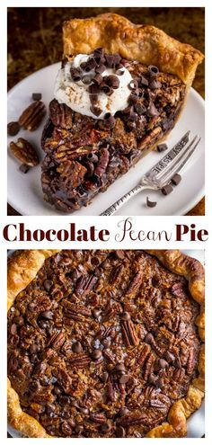 Chocolate Pecan Pie - Baker by Nature Chocolate Pecan Pie This insanely rich and decadent Chocolate Pecan Pie is a holiday favorite! Serve with whipped cream and extra chocolate shavings! Keto Pecan Pie Recipe, Homemade Pecan Pie, Vegan Pecan Pie, Best Pecan Pie, Pecan Pie Cheesecake, Chocolate Chip Pecan Pie, Chocolate Pies, Chocolate Recipes, Chocolate Shavings