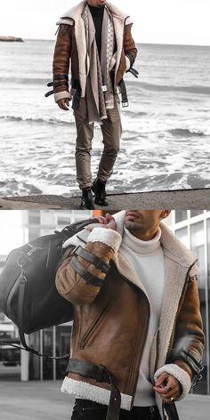 Fashion handsome motorcycle model jacket - Home Denim Jacket Men, Leather Jacket, Mens Winter Coat, Winter Coats, Fall Winter, Smart Casual, Men Casual, Casual Fall, Military Bomber Jacket