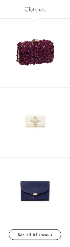 """""""Clutches"""" by kingdomofnorden ❤ liked on Polyvore featuring bags, handbags, clutches, suede clutches, suede purse, blue envelope clutch, envelope clutch bag, mansur gavriel, flat purse and red handbags"""