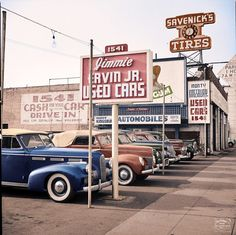 1942 Used car lot Hollywood, Ca.  LaSalle, Mercury, Ford, Cadillac, Olds, Cadillac (Imbued with Hues)