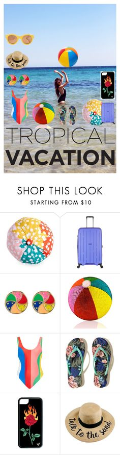 """""""Beach Volleyball-  Tropical Vacation"""" by bluehatter ❤ liked on Polyvore featuring Scribble, Antler, Ariella Collection, Judith Leiber, Therapy, Mara Hoffman, Hollister Co., Lucy Folk and TropicalVacation"""