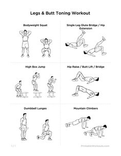 Sexy Glutes Intense Legs & Butt Toning Printable Workout for Women