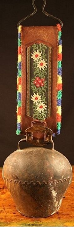 Antique Swiss Cowbell. Photo courtesy Old World Heirlooms, adapted to Pinterest by iLoveSwissMade