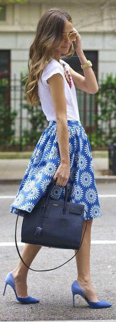 Blue Print Skirt