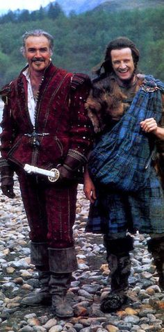 "Double nom: ""Promotional photo outtake of Sean Connery and Christopher Lambert on the set of Highlander. scanned from Starlog Magazine :: O'Quinn Publishing :: sean connery-sexiest man ever Sean Connery, Outlander, Christophe Lambert, Movie Stars, Movie Tv, Man In Black, Movies And Series, Men In Kilts, Cultura Pop"