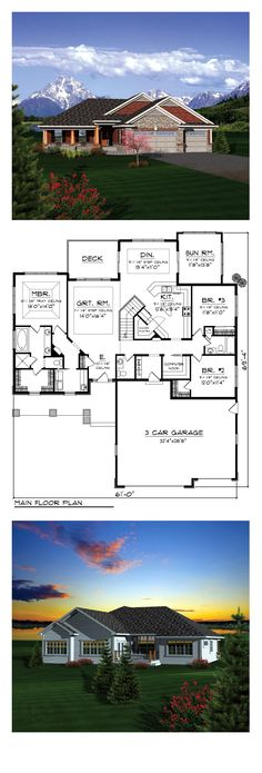 Ranch House Plan 73404 | Total Living Area: 2196 sq. ft., 3 bedrooms and 2.5 bathrooms. The kitchen includes a walk-in pantry and a breakfast bar that overlooks the dining room off the back. A sunroom lies to the right of the dining room making this space large and open. #houseplan #ranchstyle