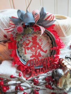 vintage christmas ornament-galvanized MASON jar LID ornament-silhouette little GIRL and dog ornament