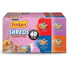 Purina Friskies Wet Cat Food Variety Pack, Shreds Beef, Turkey, Whitefish, and Chicken & Salmon – oz. Cans – Pets – catfood Paper Cat Litter, Free Cat Food, Purina Friskies, Best Cat Food, Canned Cat Food, Salmon Dinner, Wet Dog Food, Shredded Beef, Hamster