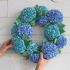 How To Make A Paper Hydrangea Wreath : Hydrangeas are gorgeous flowers, but they're only in season for a short time. Get inspired by nature and make your own paper hydrangea flower wreath with the Fiskars® Lia Griffith tools to last all year round! How To Make Paper Flowers, Paper Flowers Diy, Flower Crafts, Flower Diy, Diy Paper Flower Arrangement, How To Make Wreaths, Paper Flower Wreaths, Hydrangea Wreath, Hydrangea Flower