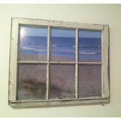 Old window frame with a poster sized picture I took of Pine Knoll Shores (PKS) a few years ago. Turned out great! Love it! Like having an oceanfront view!