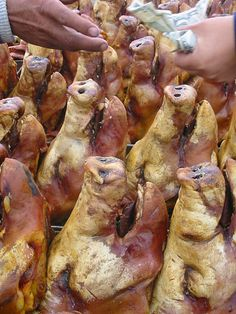 Pig heads at the Otavalo market