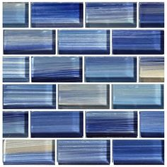 Add sophistication and style to your swimming pool with our full line of glass tile blends. The uncommon brilliance of glass tile is perfect for your waterline or as a border for steps. These tiles are. Glass Pool Tile, Glass Mosaic Tiles, Wall Tiles, Blue Glass Tile, Bathtub Remodel, Shower Remodel, Pool Remodel, Shower Surround, Industrial