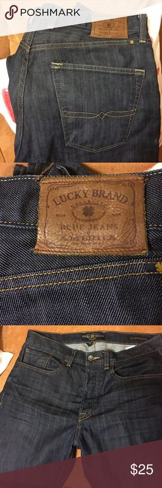 "Lucky Brand Jeans; Size 33x30 Lucky Brand Jeans, Size 33x30; Previously worn; Dark denim; Excellent condition; Smoke, Pet free; No stains or tears; Waist 33"", front rise 11""; inseam 30""; leg opening 7.5"" Lucky Brand Jeans"