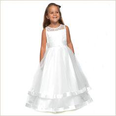 Honey Ivory Lace Flower Girl Dress