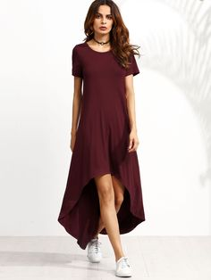 Burgundy Short Sleeve High Low Dress -SheIn(Sheinside)