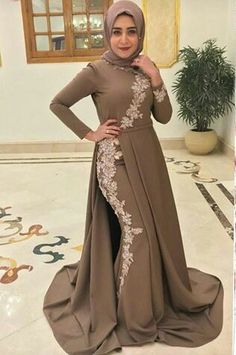 Beautiful hijab style - Another! Muslim Wedding Dresses, Eid Dresses, Event Dresses, Hijab Evening Dress, Hijab Dress Party, Eid Outfits, Dress Outfits, Fashion Dresses, Simple Long Dress